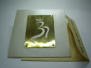 Brass greeting card with OM