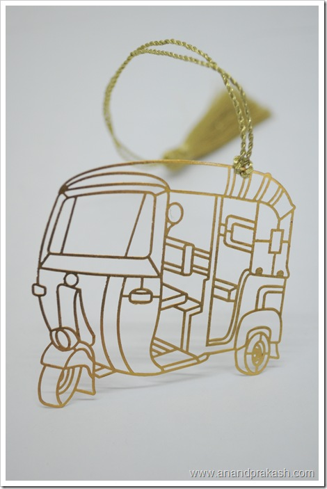 Auto Rickshaw Bookmark in Brass Metal