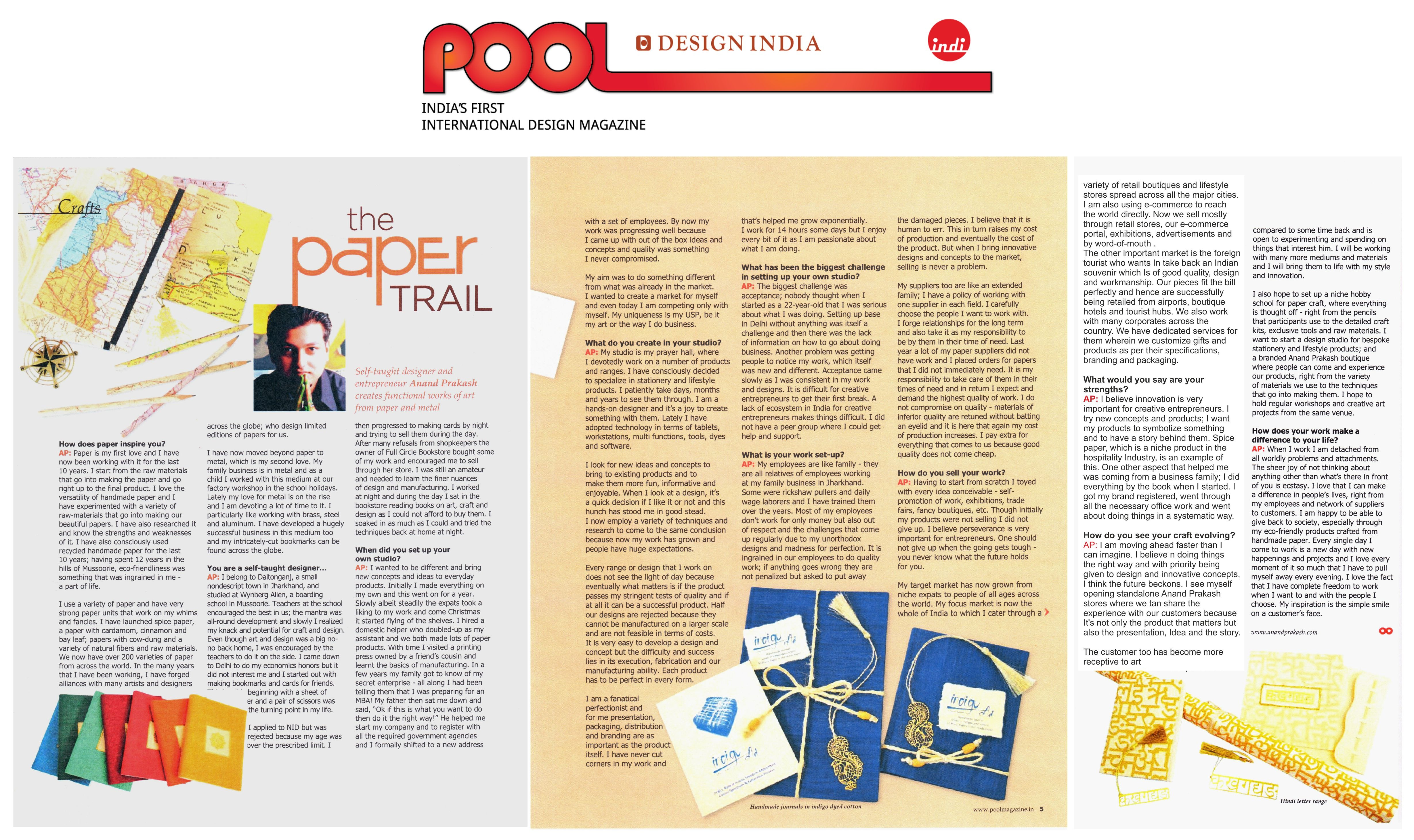 Write up in pool india s first international design for Pool design magazine