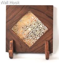 Goldplated Hook in Teak Wood