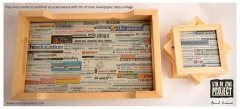Tray with newspaper collage