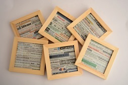 Coaster with newspaper collage by Anand Prakash