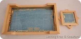 Blueprint coaster and tray in recycled wood