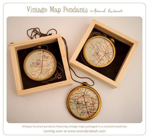 Vintage Map Pendants