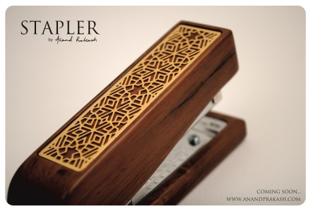 Stapler in teak and metal by Anand Prakash